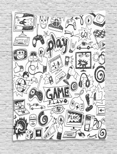 Video  Tapestry Games Black and White Printed Wall Hanging