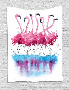 Animal  Tapestry Lovely Flamingo and Bird Printed Wall Hanging