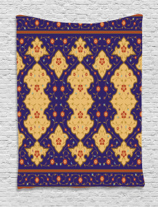 Moroccan  Tapestry Arabic Effected Border Printed Wall Hanging