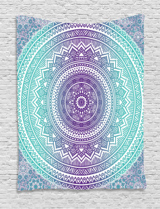 Blue  Tapestry and Purple Hippie Mandala Printed Wall Hanging