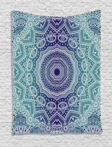 Navy  Tapestry and Teal Ombre Tribe Printed Wall Hanging
