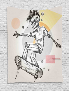 Skull  Tapestry Skating Skeleton Boy Printed Wall Hanging