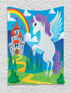 Kids  Tapestry Unicorn with Rainbow Fairy Printed Wall Hanging
