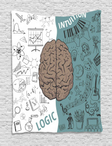 Modern  Tapestry Music Logic Brain Art Printed Wall Hanging