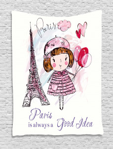 Paris  Tapestry Hearts on Eiffel Tower Printed Wall Hanging