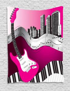 City  Tapestry Urban Bass Guitar Rock  Printed Wall Hanging