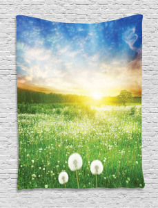 Spring  Tapestry Dandelion Flower Field Printed Wall Hanging