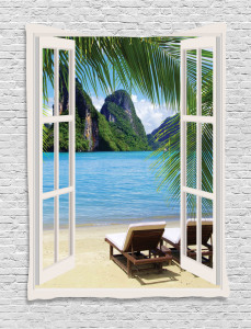Beach  Tapestry Palms and Ocean Summer Printed Wall Hanging