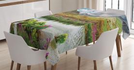 Gebirgstal Blumen Tischdecke