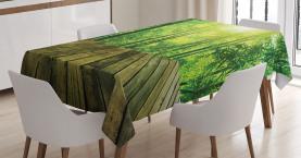 Holzbrett Wald Sonne Tischdecke