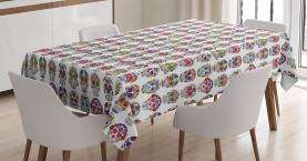 Schädel mit Blumen Tischdecke