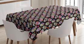 Zuckerschädel Blumen Tischdecke