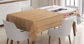 Reihe der hungrigen Haus-Haustiere Tischdecke