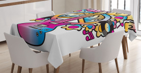 Colorful  Tablecloth Peace Love Vinyl Music Printed Table Cover