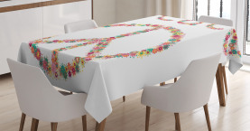 Friedenszeichen mit Blume Tischdecke