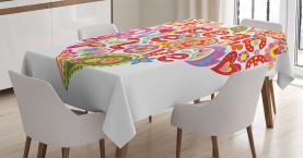 Hippie-Blumenherz-Zeichen Tischdecke
