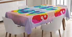 Hippie  Tablecloth Youth Peace Love Tie Dye Printed Table Cover