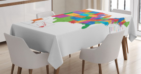 Colorful  Tablecloth USA Map with States Printed Table Cover