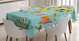 Cartoon  Tablecloth Animal Map of the World Printed Table Cover