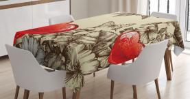 Blumen und Schmetterling Tischdecke