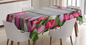 Rahmen von frischen Tulpen Tischdecke