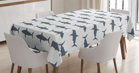 Shark  Tablecloth Swimming Wild Fishes Printed Table Cover