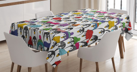 Penguin  Tablecloth Winter Cartoon Animal Printed Table Cover