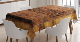 Wooden Carving Style Saloon Tablecloth