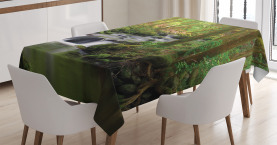 River  Tablecloth Forest over Mossy Rocks Printed Table Cover