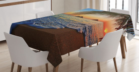 Hawaiian  Tablecloth Sunrise Lanikai Beach Printed Table Cover