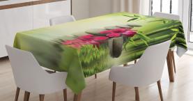 Steine Bambus Blätter Tischdecke