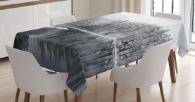 Winter  Tablecloth Trees in Cold Day Lake Printed Table Cover