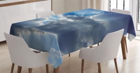 Sonnenstrahlen von Wolken Tischdecke