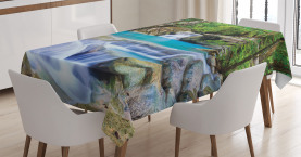 Nature  Tablecloth Rocks in Waterfall Lake Printed Table Cover