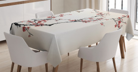 Floral  Tablecloth Asian Style Art Birds Printed Table Cover