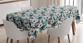 Exotischer Hibiscus auf Streifen Tischdecke