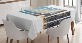 Tropical  Tablecloth Hawaii Themed Artsy Printed Table Cover