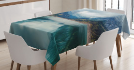 Mountain  Tablecloth Alpine Lake Sky Forest Printed Table Cover