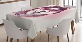 Animal  Tablecloth Hipster Husky Dog Hearts Printed Table Cover