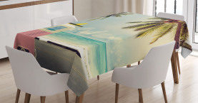 Colorful  Tablecloth Retro Minivan on Beach Printed Table Cover