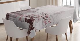 Asian  Tablecloth Sakura Trees and Mountain Printed Table Cover