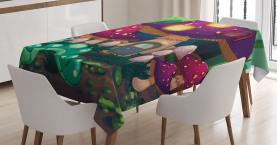 Wurm Pilz Haus Tischdecke