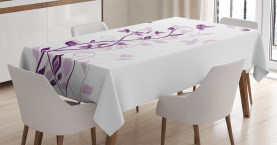 Purple  Tablecloth Violet Tree Blossoms Printed Table Cover