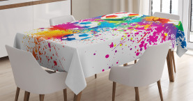 Soccer  Tablecloth Colorful Splashes Balls Printed Table Cover