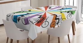 Dame auf Fahrrad-Regenbogen Tischdecke
