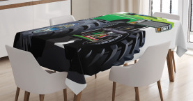 Cartoon  Tablecloth Monster Pickup Truck Printed Table Cover