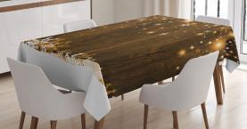 Holz und Schneeflocken Tischdecke