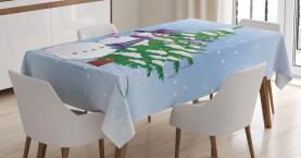 Schneemann und Baum Tischdecke
