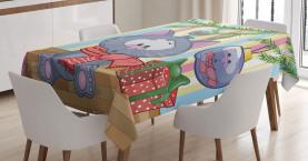 Kätzchen Geschenk und Baum Tischdecke