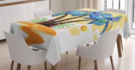 Tropical  Tablecloth Cartoon Island Sunset Printed Table Cover